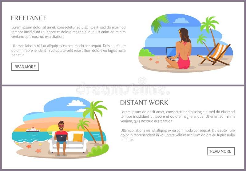 Illustrazione indipendente e distante di vettore della pagina del lavoro illustrazione di stock