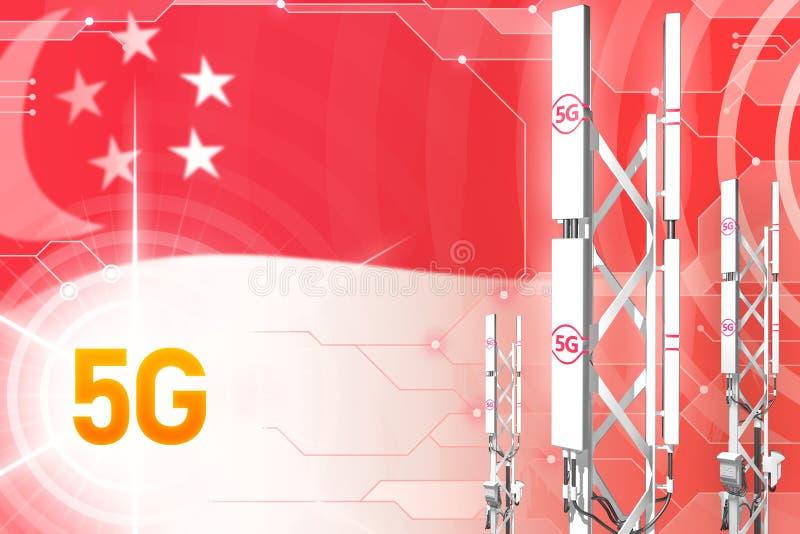 Illustrazione industriale di Singapore 5G, grande albero cellulare della rete o torre sul fondo con la bandiera - di ciao-tecnolo illustrazione di stock