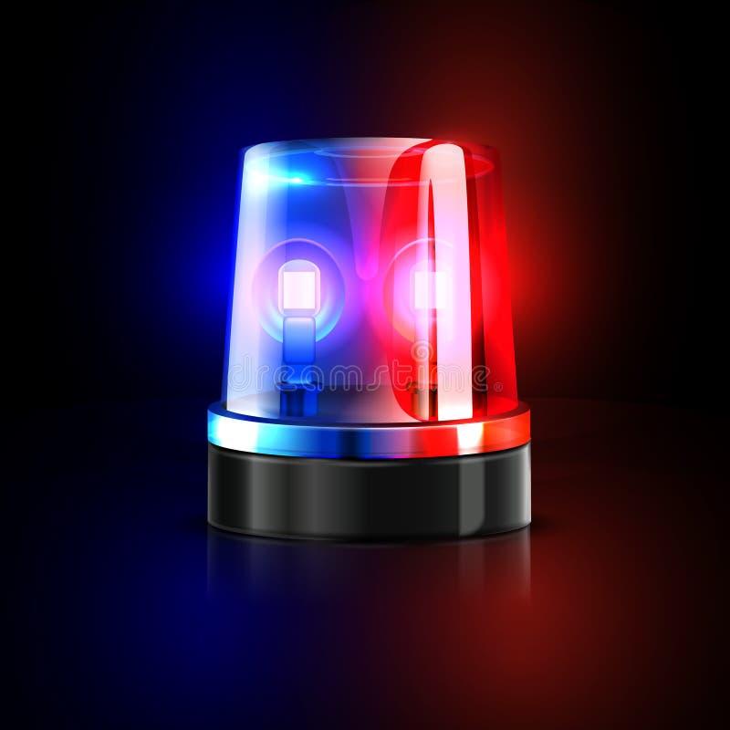 Illustrazione infiammante di vettore della sirena di polizia di emergenza illustrazione di stock