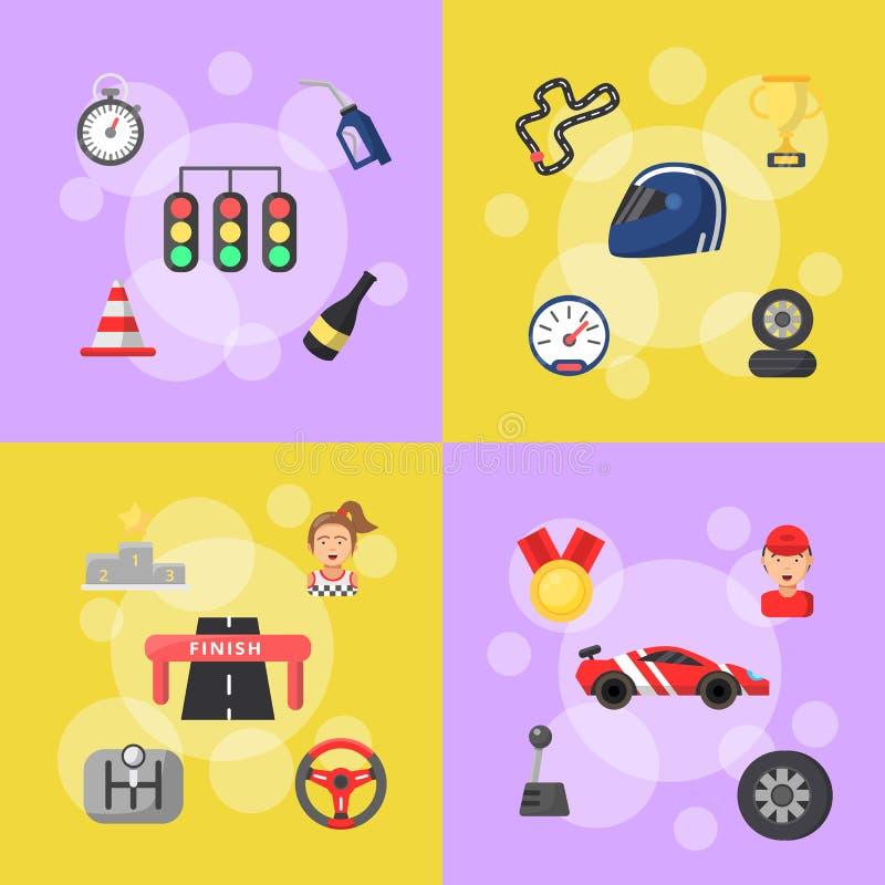 Illustrazione infographic delle icone di corsa di automobile di vettore illustrazione vettoriale