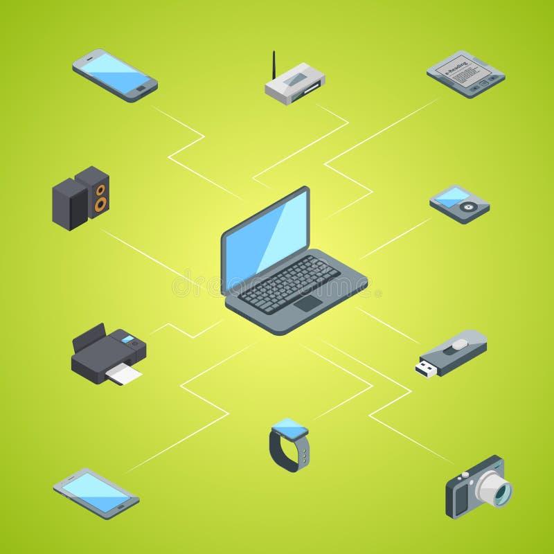 Illustrazione infographic di concetto delle icone isometriche degli aggeggi di vettore illustrazione di stock