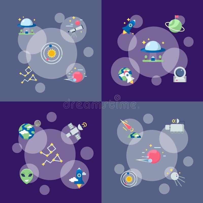 Illustrazione infographic di concetto delle icone piane dello spazio di vettore royalty illustrazione gratis