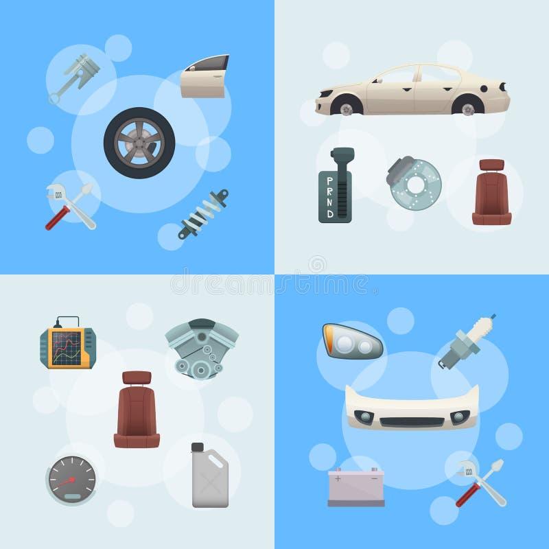 Illustrazione infographic di concetto delle parti dell'automobile di vettore dell'insieme royalty illustrazione gratis