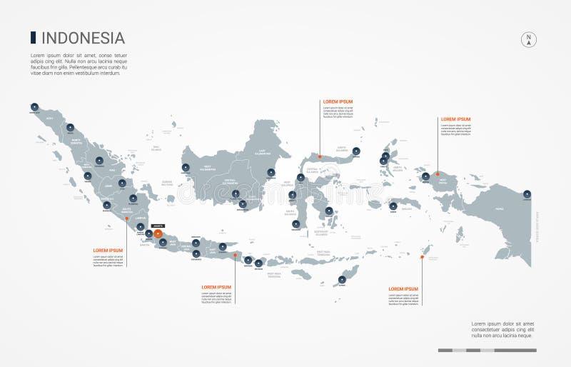 Illustrazione infographic di vettore della mappa dell'Indonesia fotografie stock