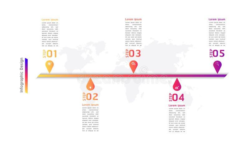 Illustrazione infographic eps10 di vettore di punti di progettazione 5 del punto del segno di cronologia royalty illustrazione gratis