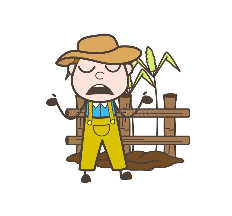 Illustrazione innocente di Surprised Behavior Vector dell'agricoltore del fumetto illustrazione vettoriale