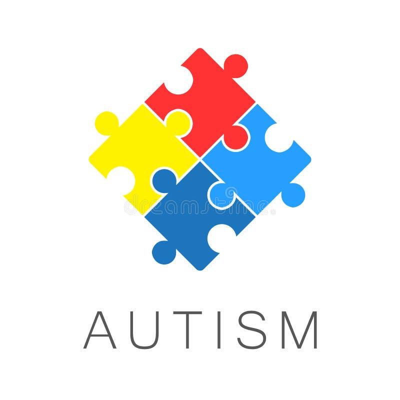 Illustrazione, insegna o manifesto del giorno di consapevolezza di autismo del mondo illustrazione vettoriale