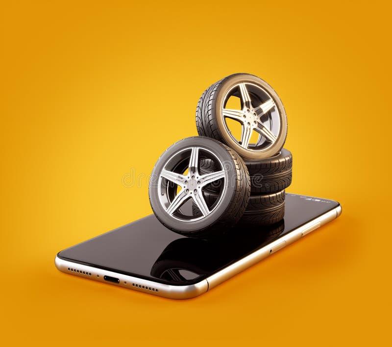 Illustrazione insolita 3d delle gomme di automobile su uno schermo dello smartphone Calcolatore di dimensione della gomma illustrazione vettoriale