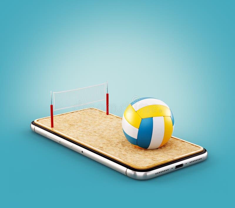Illustrazione insolita 3d di una palla di pallavolo e sulla corte su uno schermo dello smartphone illustrazione di stock