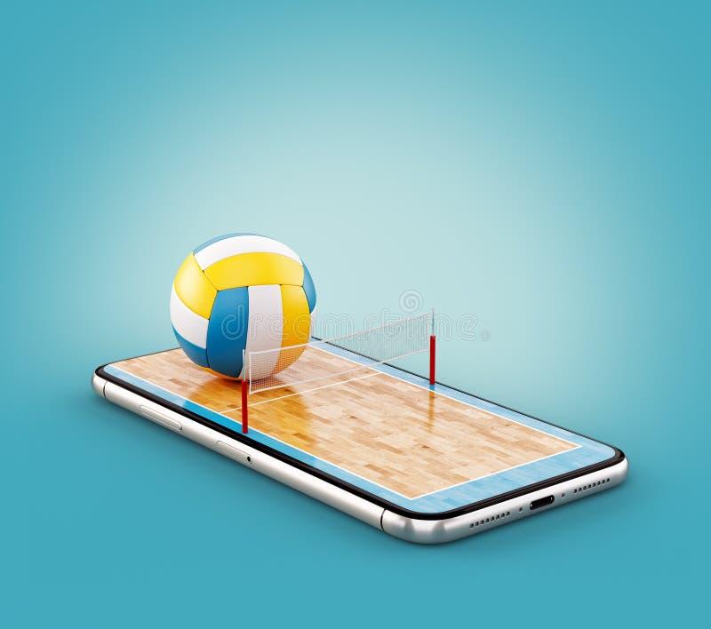 Illustrazione insolita 3d di una palla di pallavolo e sulla corte su uno schermo dello smartphone illustrazione vettoriale
