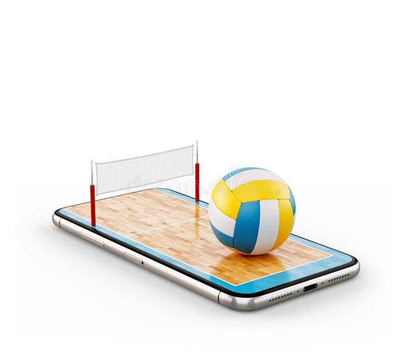 Illustrazione insolita 3d di una palla di pallavolo e sulla corte su uno schermo dello smartphone royalty illustrazione gratis