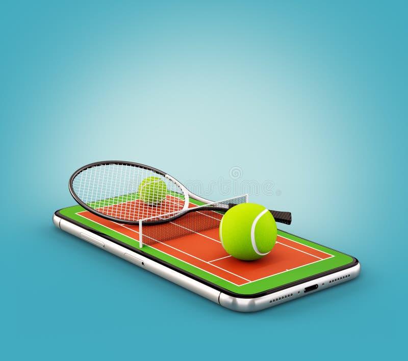 Illustrazione insolita 3d di una pallina da tennis e di una racchetta sulla corte su uno schermo dello smartphone royalty illustrazione gratis