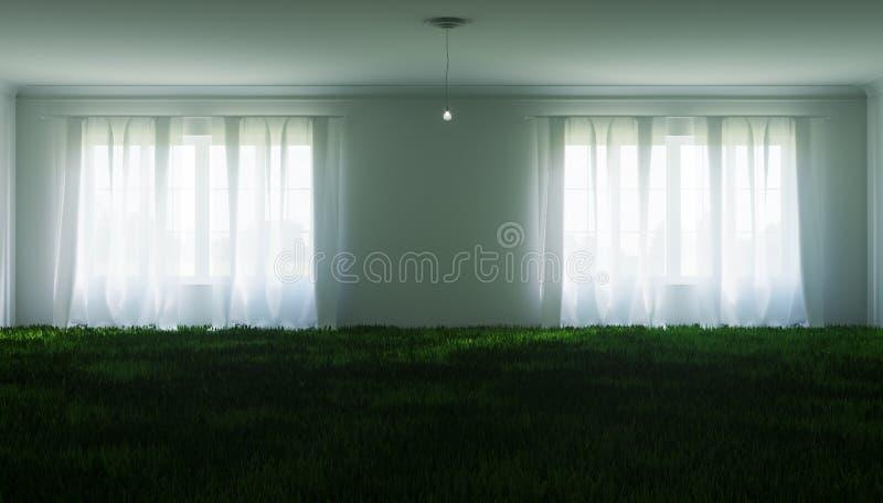 Illustrazione insolita di grande stanza bianca, con un prato inglese interno e una piccola lampadina fotografie stock