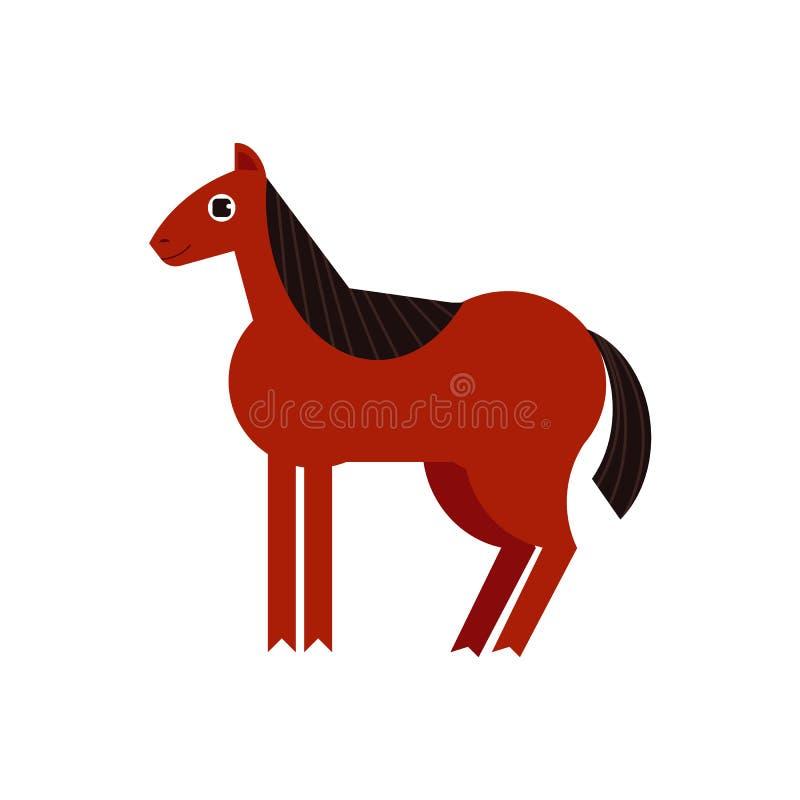 Illustrazione integrale del cavallo di baia isolata su fondo bianco royalty illustrazione gratis