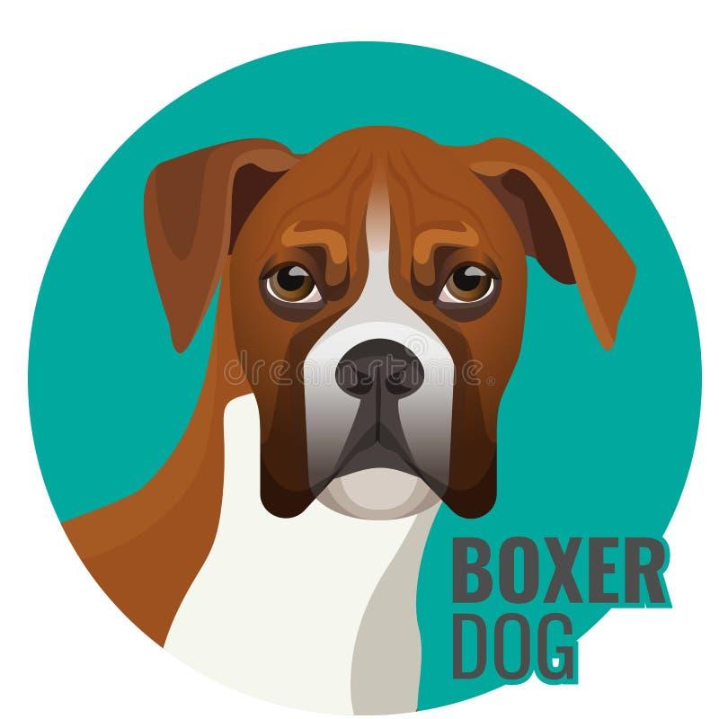Illustrazione integrale di vettore del cane del pugile isolata su bianco illustrazione vettoriale