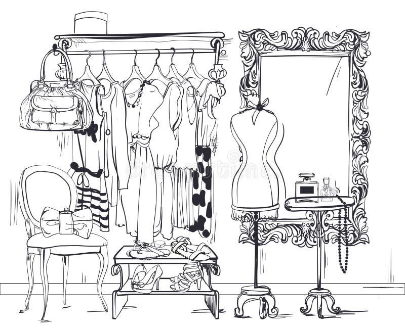 Illustrazione interna con il guardaroba delle donne royalty illustrazione gratis