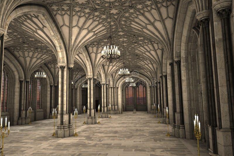 Illustrazione interna 3d della cattedrale gotica illustrazione vettoriale