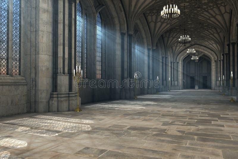 Illustrazione interna 3d della cattedrale gotica illustrazione di stock
