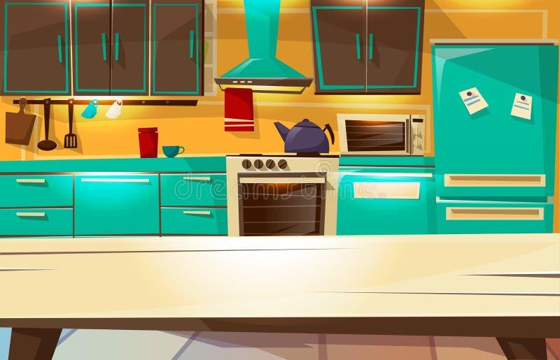 Illustrazione interna del fumetto di vettore del fondo della cucina della mobilia e degli apparecchi moderni o retro della cucina illustrazione vettoriale