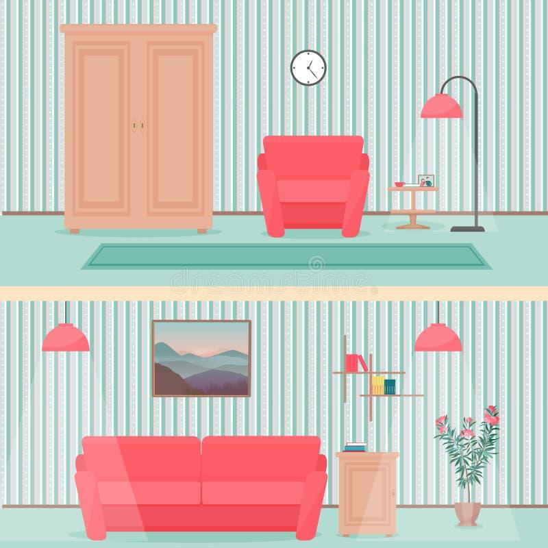 Illustrazione interna del salone piano variopinto di stile con il guardaroba, il sofà, il tappeto, i fiori e la lampada illustrazione di stock
