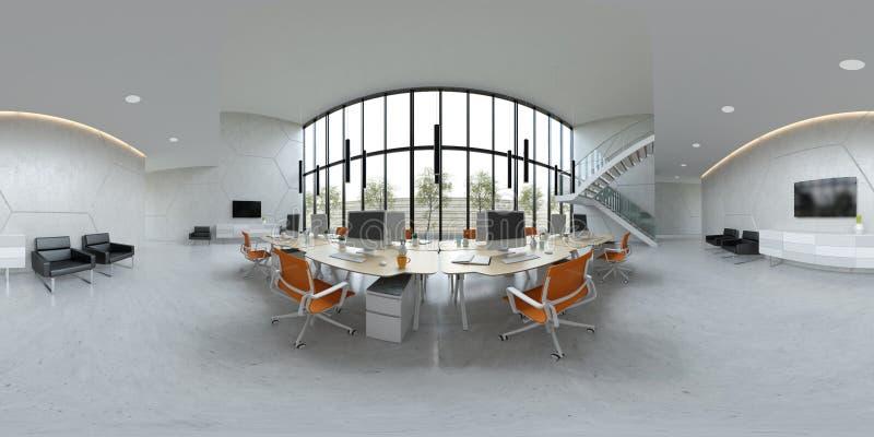 Illustrazione interna dell'ufficio 3D dello spazio aperto 360 della proiezione sferica di panorama illustrazione di stock