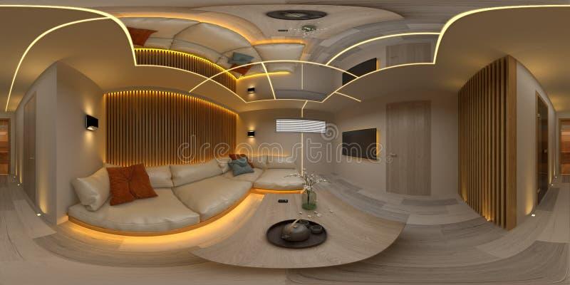 Illustrazione interna della sala 3D di progettazione moderna 360 della proiezione senza cuciture sferica di panorama illustrazione vettoriale