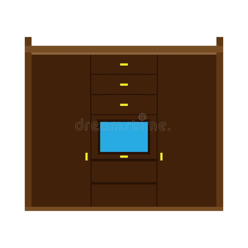 Illustrazione interna dello scaffale dei vestiti della mobilia dell'icona di vettore del gabinetto del guardaroba Camera da letto royalty illustrazione gratis