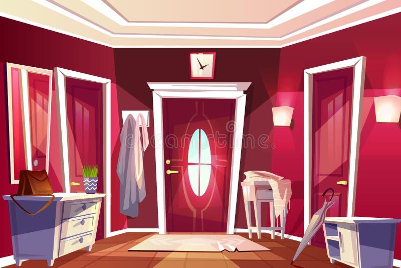 Illustrazione interna di vettore della stanza del corridoio di corridoio illustrazione di stock