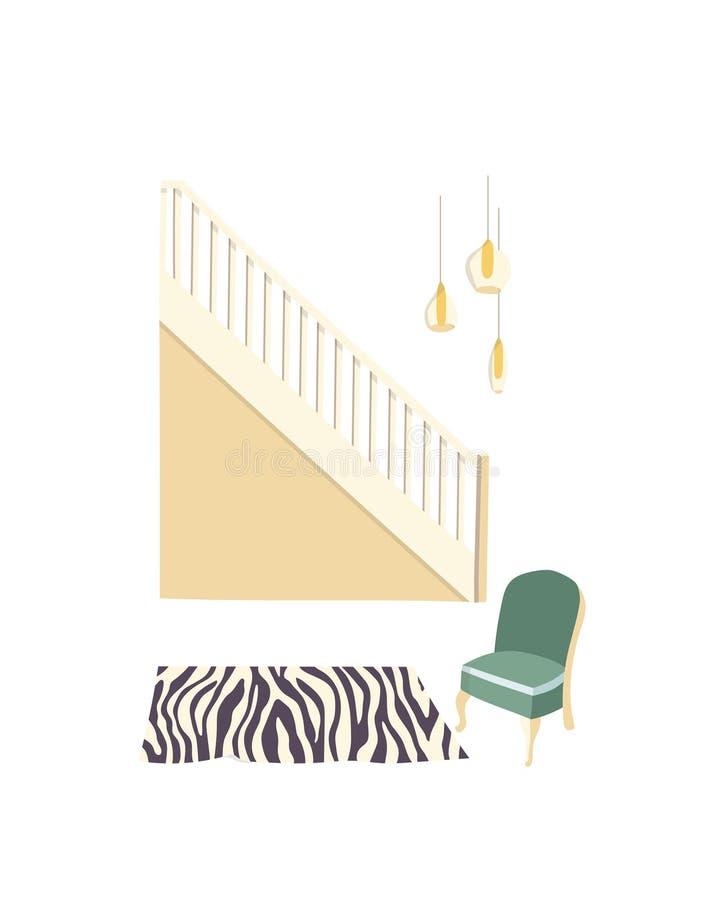Illustrazione interna di vettore della stanza di retro corridoio o entrata di corridoio con mobilia Fondo piano del fumetto dell' illustrazione di stock