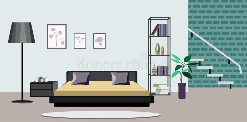 Illustrazione interna di vettore della stanza di vecchio o salone moderno degli appartamenti con mobilia Progettazione piana dell illustrazione di stock
