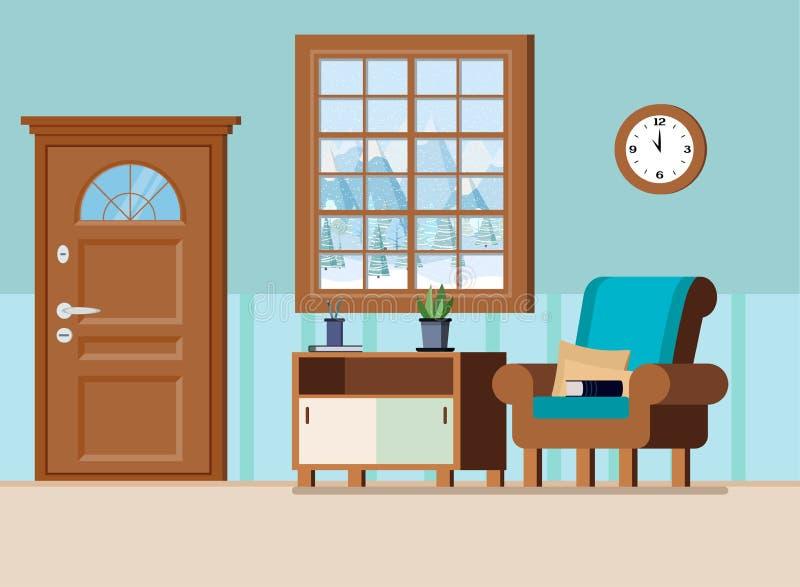 Illustrazione interna domestica accogliente di vettore del fondo dell'atrio illustrazione vettoriale