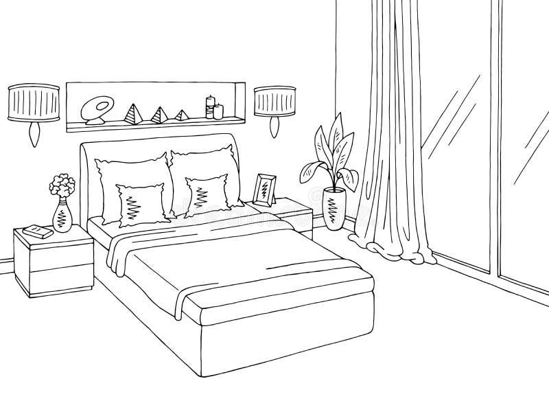 Illustrazione interna domestica bianca nera grafica di schizzo della camera da letto royalty illustrazione gratis
