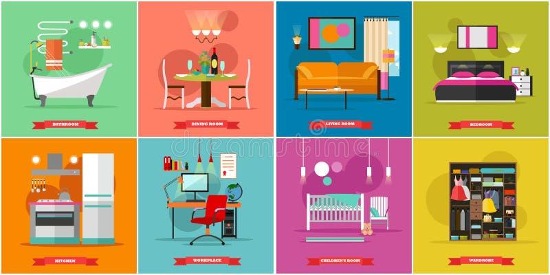 Illustrazione interna domestica di vettore nello stile for Mobilia domestica