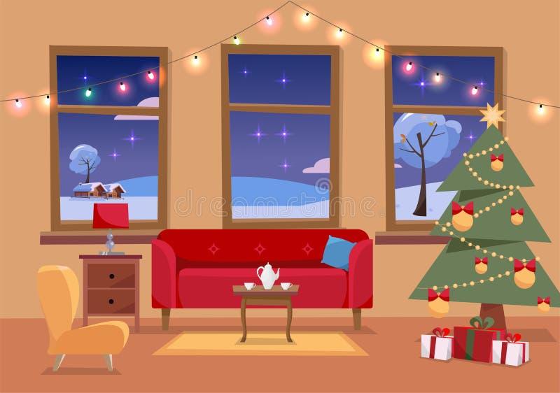 Illustrazione interna piana di Natale del salone decorata per le feste Interno domestico accogliente con mobilia, sofà, poltrona, illustrazione vettoriale