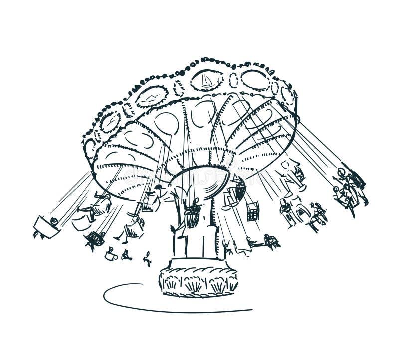 Illustrazione isolata clipart di schizzo di vettore del carosello royalty illustrazione gratis