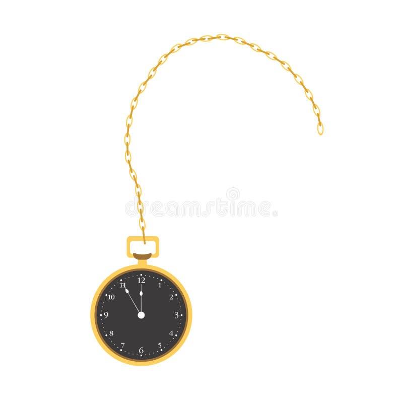 Illustrazione isolata dell'oggetto d'antiquariato di tempo di vettore d'annata dell'orologio dell'orologio da tasca vecchia Retro illustrazione vettoriale