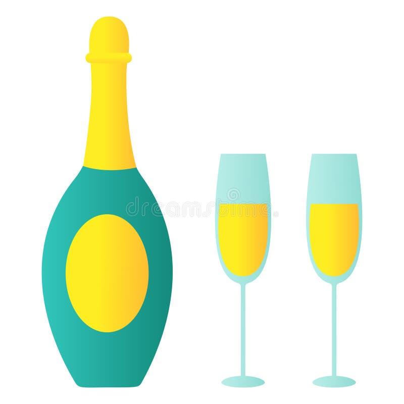 Illustrazione isolata della bottiglia di champagne piena di bolle, due vetri Vettore per il Natale tempo, nuovo anno, festa di co illustrazione vettoriale