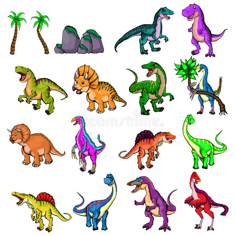 Illustrazione isolata di un insieme dei dinosauri fotografia stock