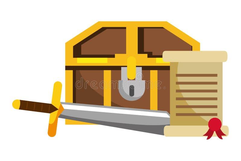 Illustrazione isolata di vettore di progettazione del forziere royalty illustrazione gratis