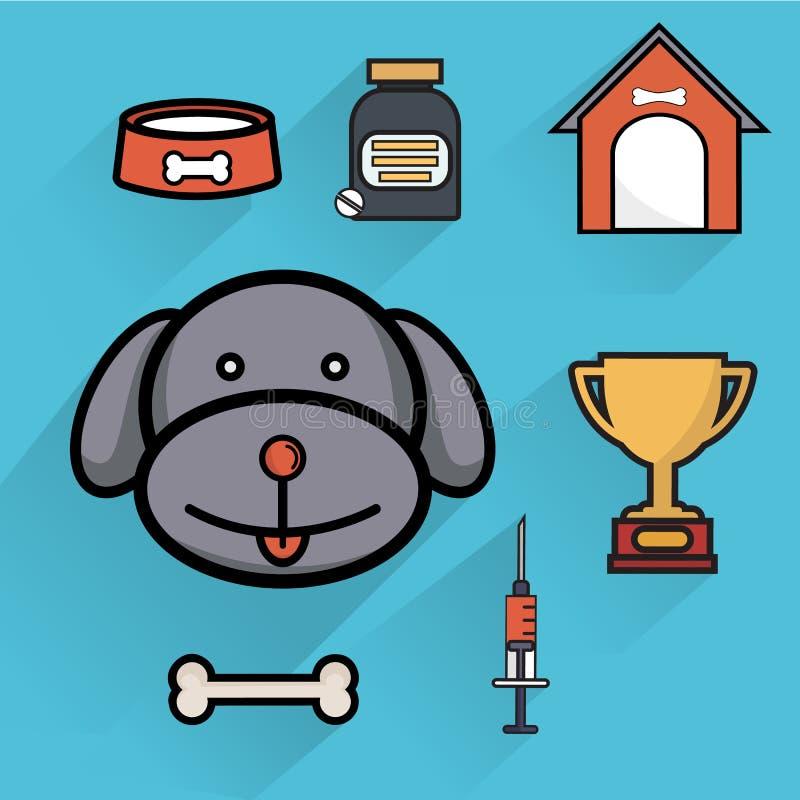 Illustrazione isolata icone piane degli accessori di sanità di cura di animale domestico del cane illustrazione vettoriale