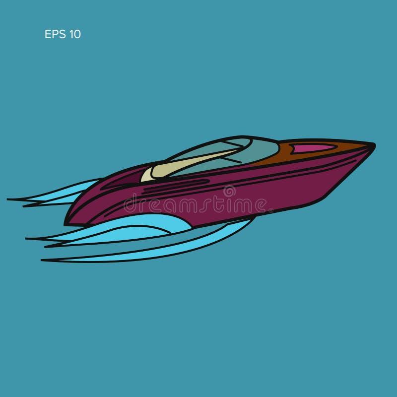 Illustrazione isolata motoscafo Progettazione piana di vettore di lusso della barca streamline royalty illustrazione gratis