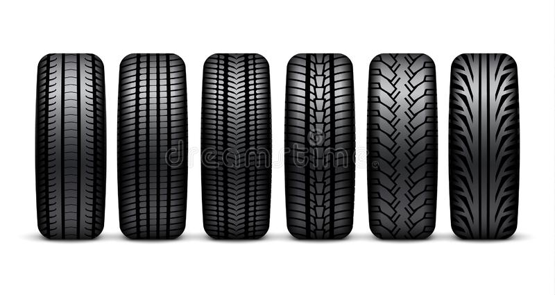 Illustrazione isolata ruota della gomma di automobile Progettazione realistica della gomma dell'icona 3d del pneumatico dell'auto illustrazione di stock