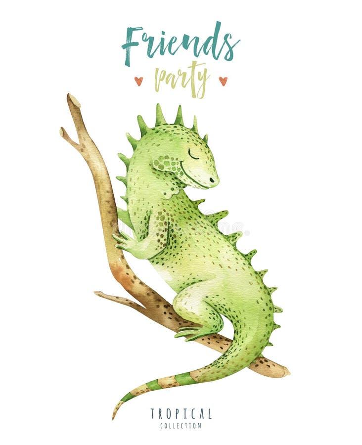 Illustrazione isolata scuola materna degli animali del bambino per i bambini Disegno tropicale di boho dell'acquerello, iguana tr royalty illustrazione gratis