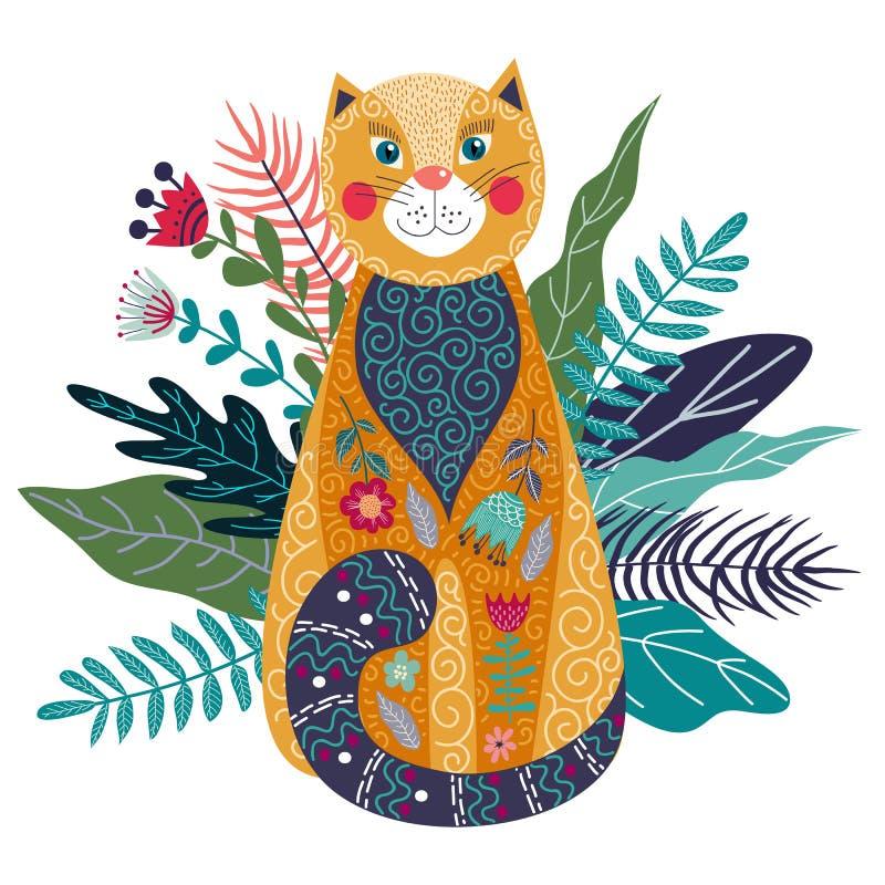 Illustrazione isolata variopinta di vettore di arte con il gatto, il fiore e l'erba svegli dello zenzero su un fondo bianco illustrazione di stock