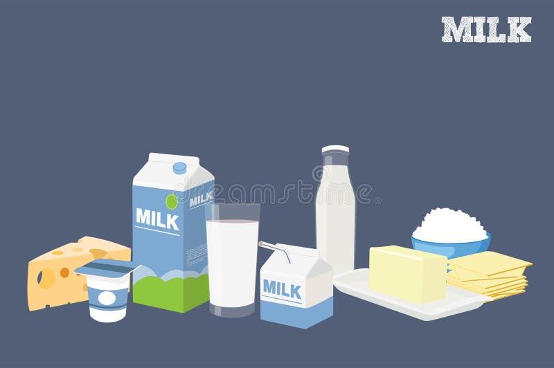 Illustrazione isolata vettore di latte e dei prodotti lattier-caseario differenti royalty illustrazione gratis
