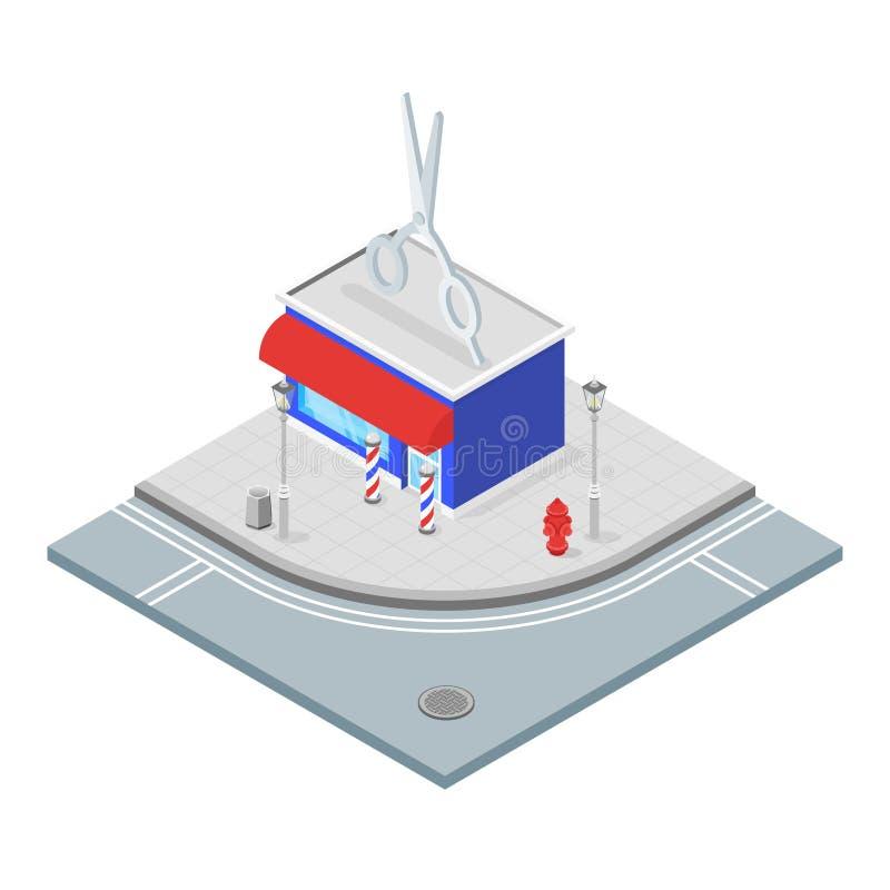 Illustrazione isometrica 3d del parrucchiere illustrazione vettoriale