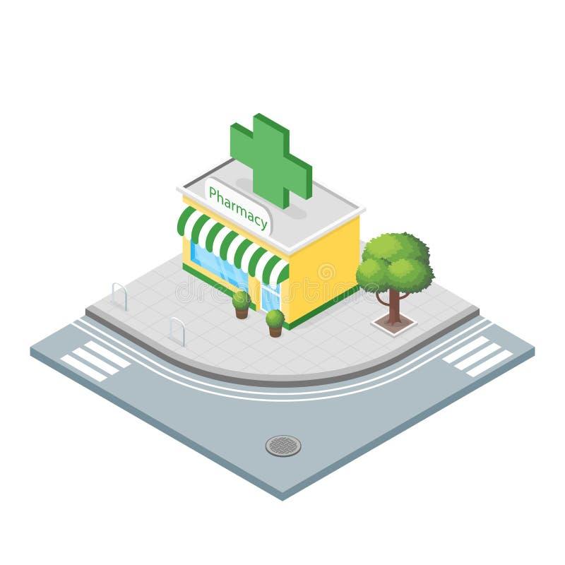 Illustrazione isometrica 3d della farmacia illustrazione vettoriale