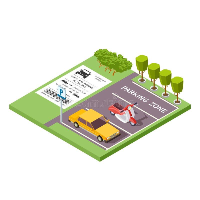 Illustrazione isometrica 3d di vettore di zona di parcheggio dell'automobile royalty illustrazione gratis