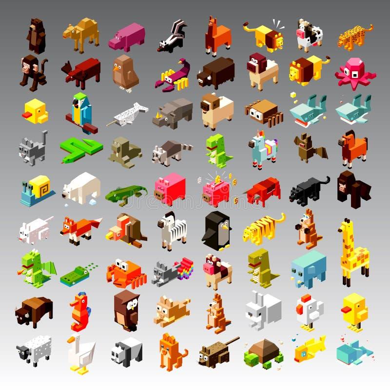 Illustrazione isometrica degli animali illustrazione di stock