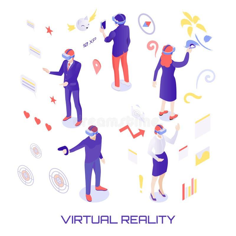 Illustrazione isometrica del mondo virtuale illustrazione di stock